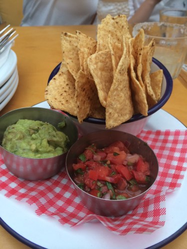 Corn chips with guacamole and salsa $12.00