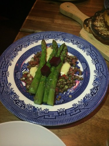 Warm asparagus salad with puy lentil dressing:  $16.00