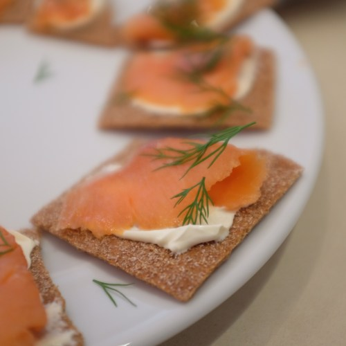Creme fraiche and smoked salmon