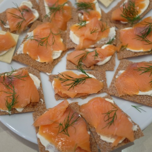 Katie also made smoked salmon and creme fraiche on crackers
