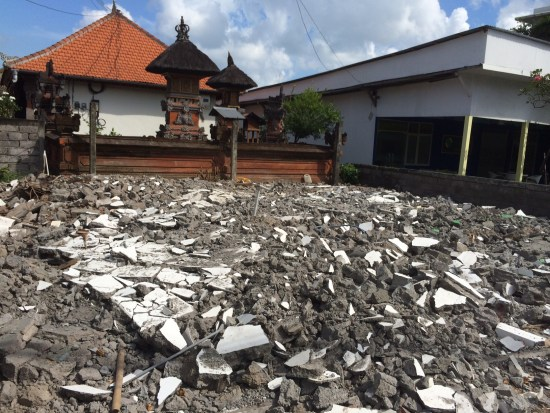 Rubble on a building site in Seminyak