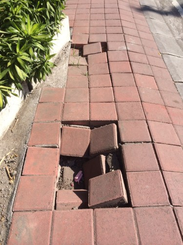 A footpath in Seminyak.  Watch your step!