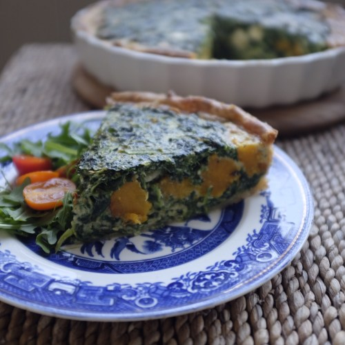 Roasted pumpkin, sage and spinach quiche