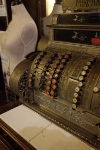An antique cash register