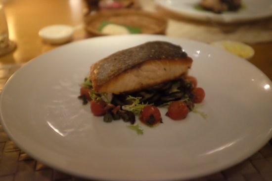 Pan seared Tasmanian Salmon: eggplant, salsa crudo: About $17.80