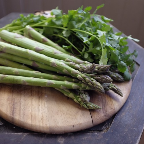 Snap off the woody ends of the asparagus