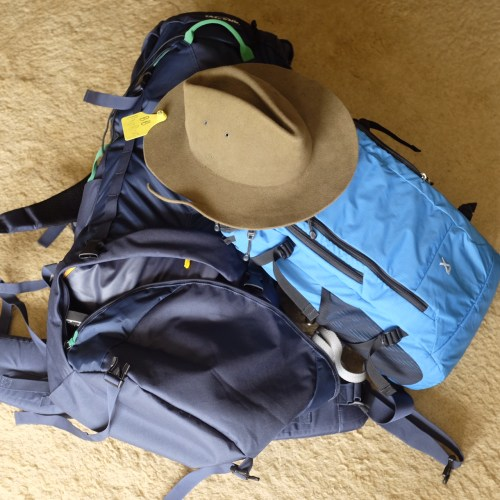 Backpacks plus the 'essential' hat