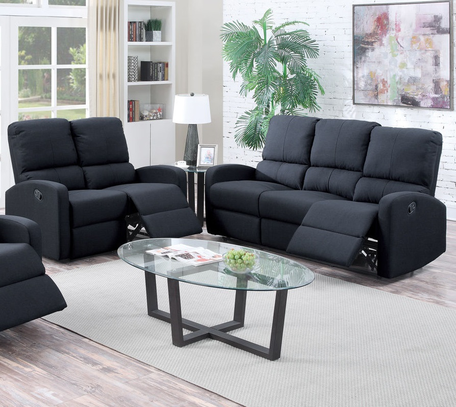 Types Of High Back Sofa Poundex Recliner Sofa Set Black Modern #f6735 | Hot Sectionals