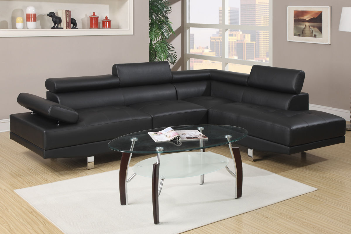Modern Black Leather Sectional Sofa Poundex F7310 Hot Sectionals