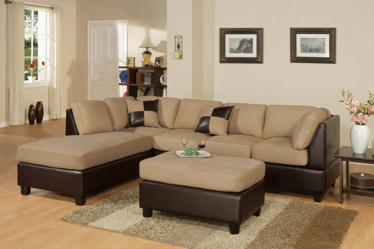 Modern Sectional Sofa Microfiber Poundex Hot Sectionals