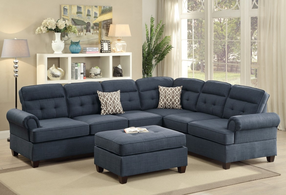 Sectional Blue Fabric Sofa Loveseat Wedge Hot Sectionals - Sofas