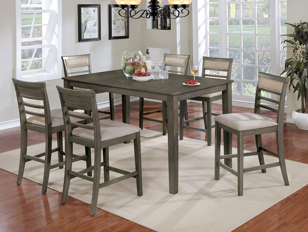 Dining Room Chair Fabric Counter Height Dining Room Furniture Set 7pc Set Gray Finish Slat Back Chairs Fabric Cushions