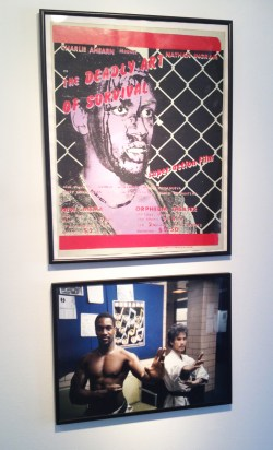 """Silkscreen poster for Charlie Ahearn's Super-8 feature film """"Deadly Art of Survival"""" (1978), and a photo of the star, Nathan Ingram, in his karate school."""