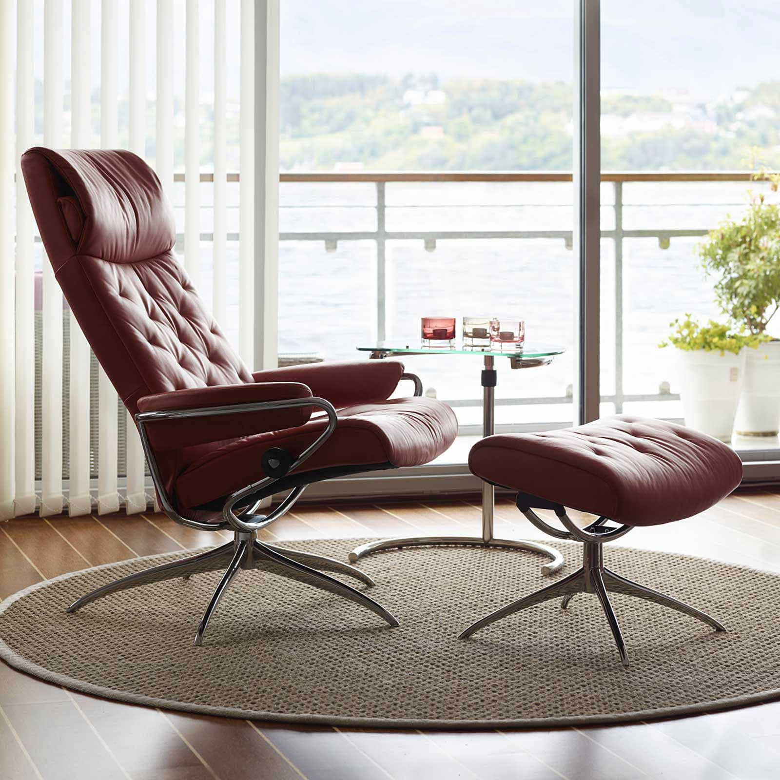 Stressless Sessel Paris Stressless Metro High Back Batick Burgundy Gestell Chrom