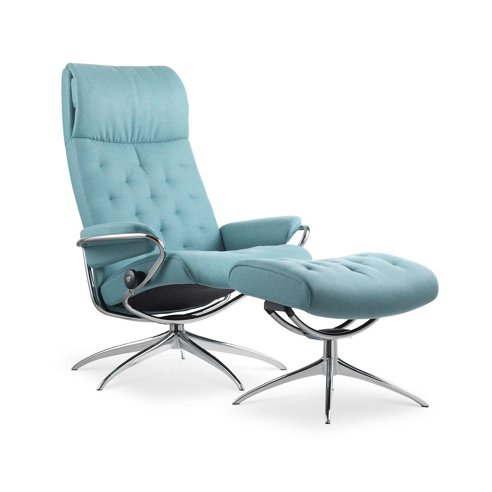 Stressless Sessel Höffner Stressless Metro High Back Calido Aqua Gestell Chrom Hocker