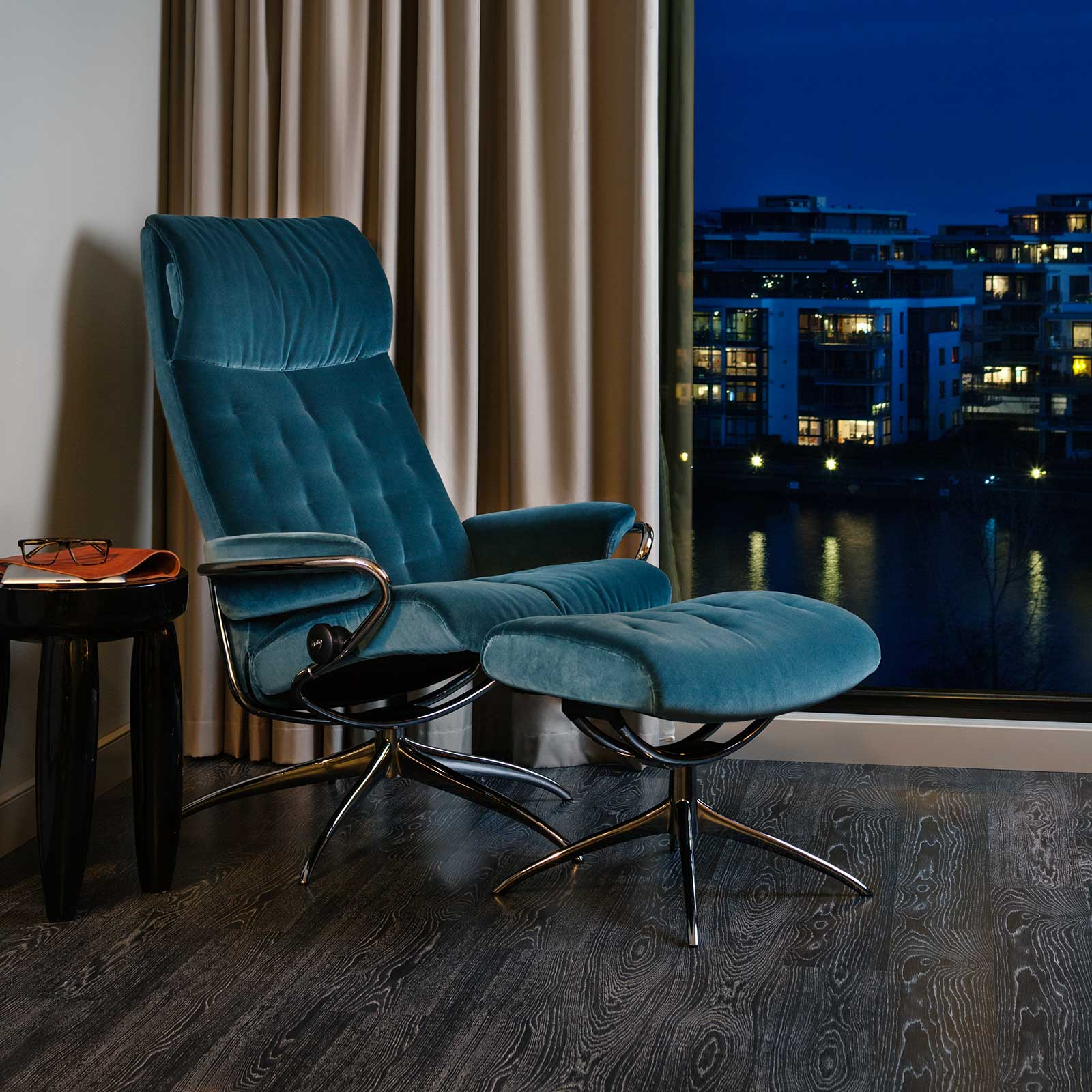 Stressless Sessel Metro Stressless Metro High Back Molli Blue Gestell Chrom Mit Hocker