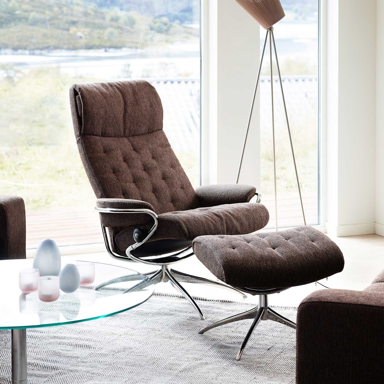 Stressless Sessel Metro Stressless Metro High Back Ocean Brown Gestell Chrom Mit Hocker