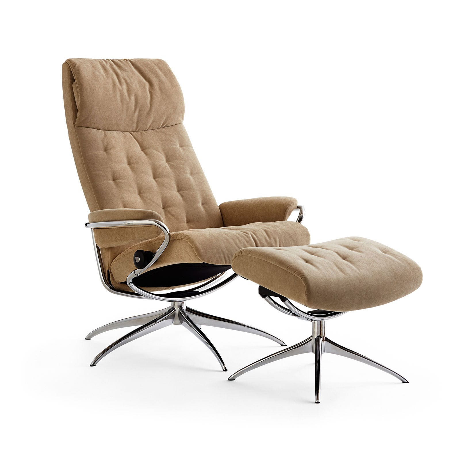 Sessel Stoff Mit Hocker Stressless Metro High Back Verona Camel Gestell Chrom Hocker