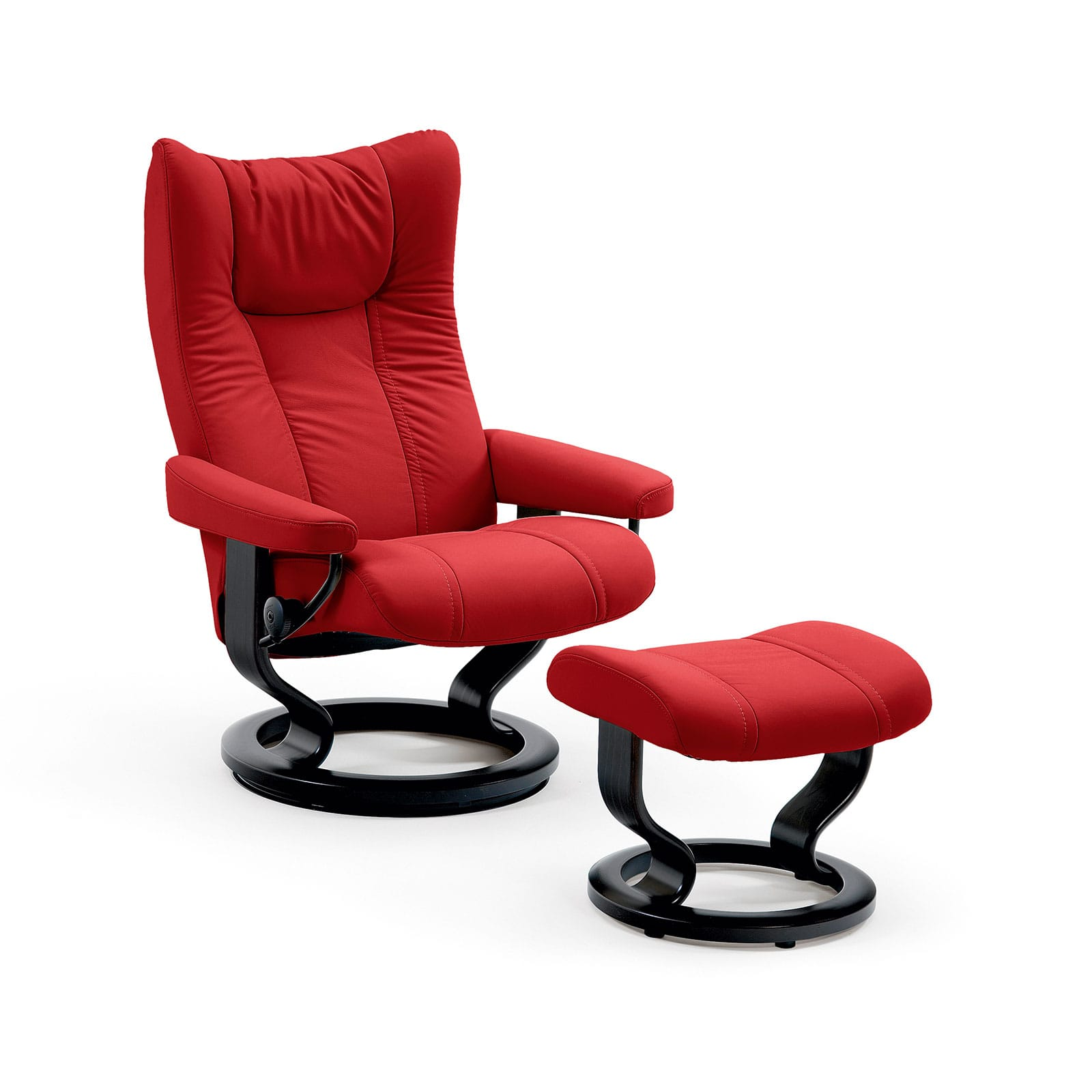 Sessel In Rot Stressless Sessel Wing Leder Batick Chilli Red Mit Hocker