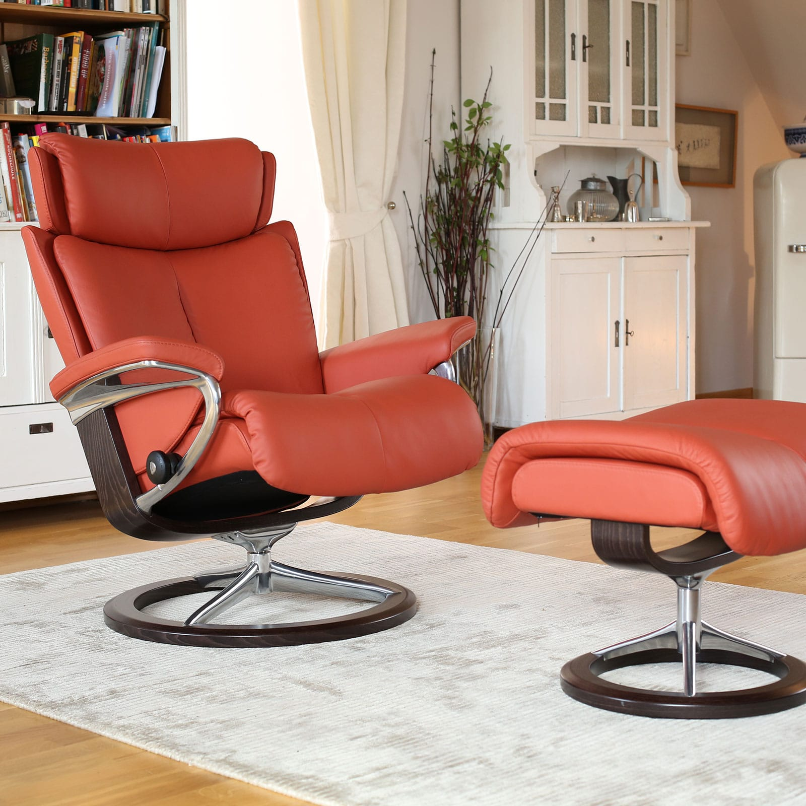 Relaxsessel Leder Braun Stressless Relax-sessel Magic Paloma Henna Signature Hocker