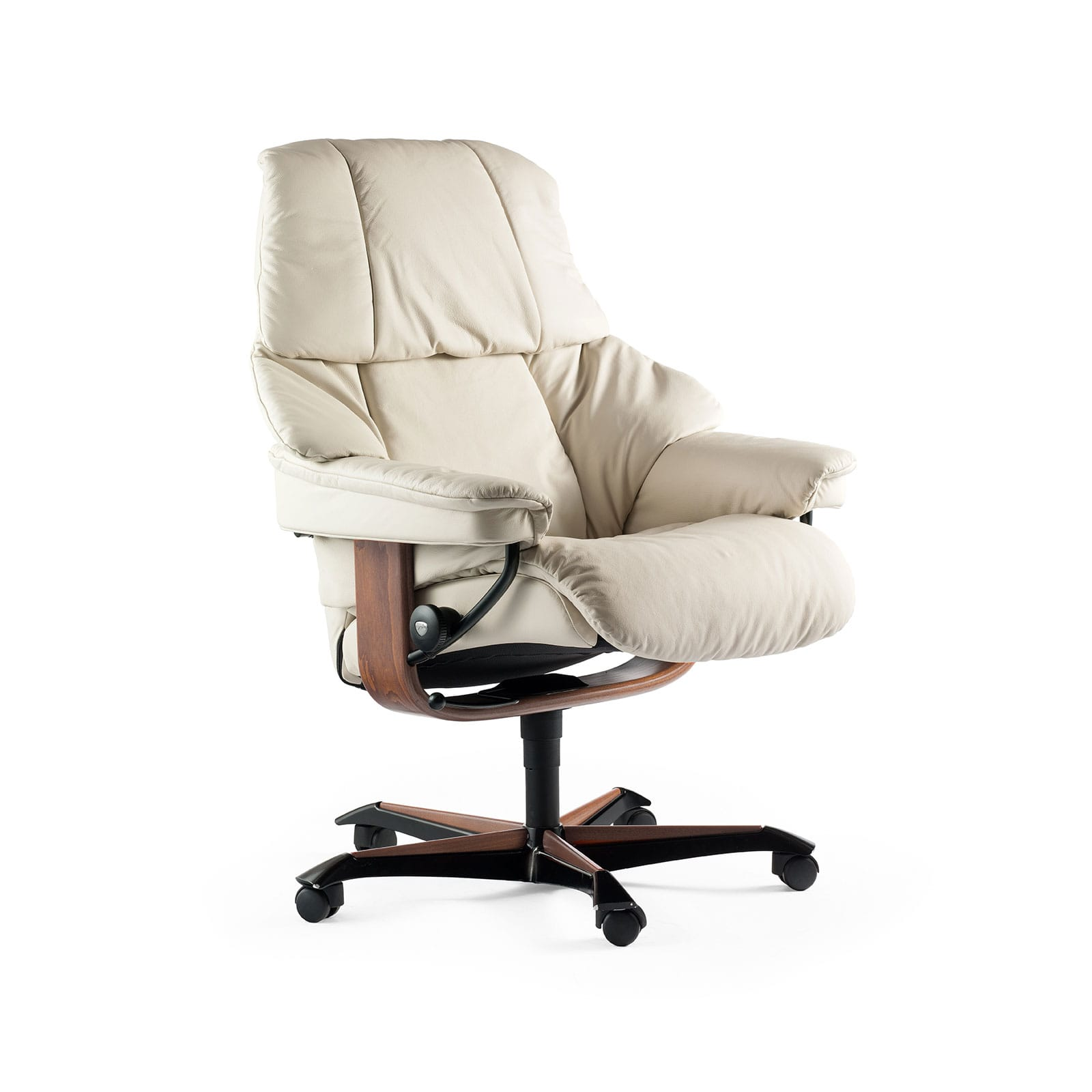 Relaxsessel Mit Rollen Stressless Sessel Reno Bürostuhl Home Office Leder Paloma Light Grey