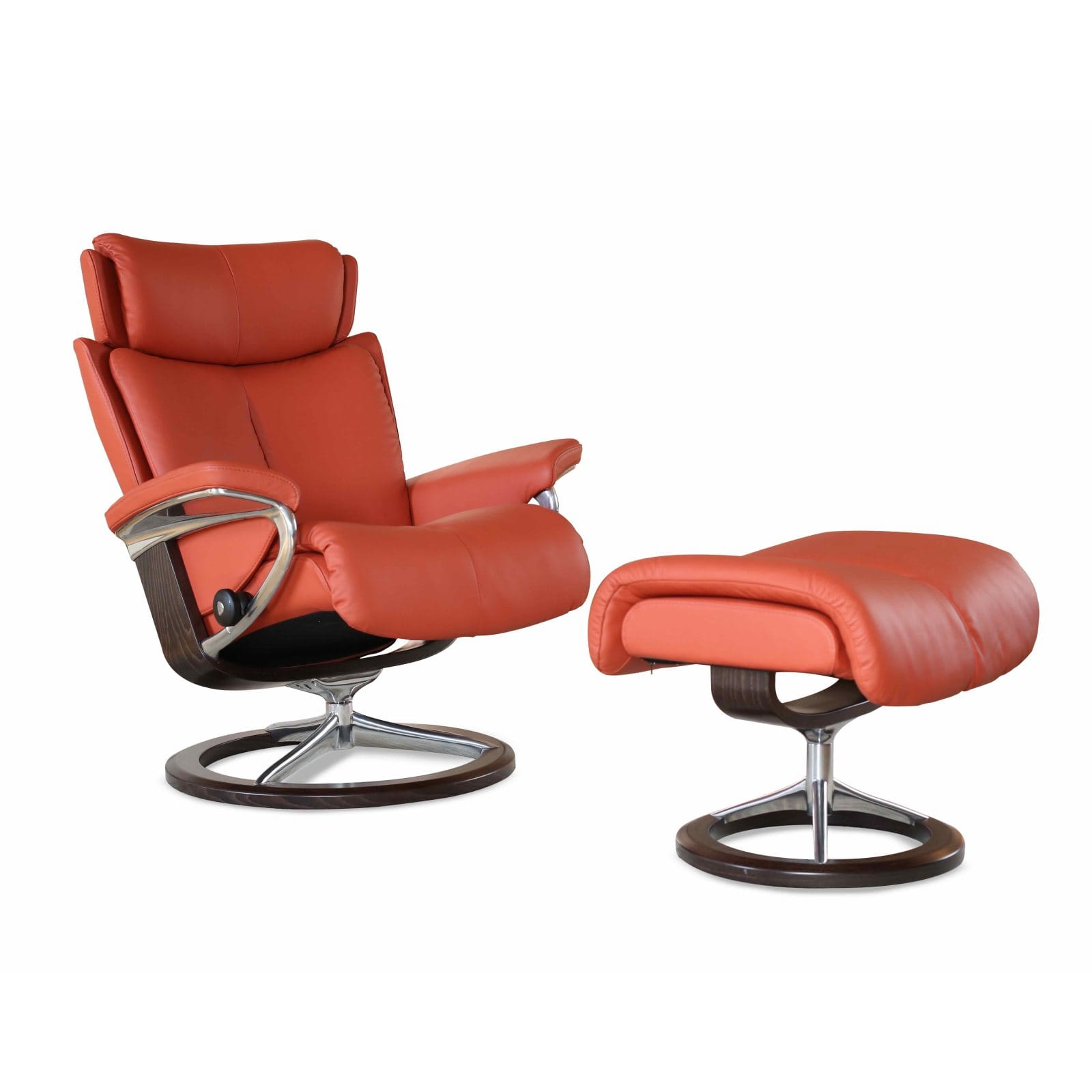 Stressless Magic Signature Sessel Stressless Sessel Magic Leder Paloma Henna Signature Gestell Braun Mit Hocker