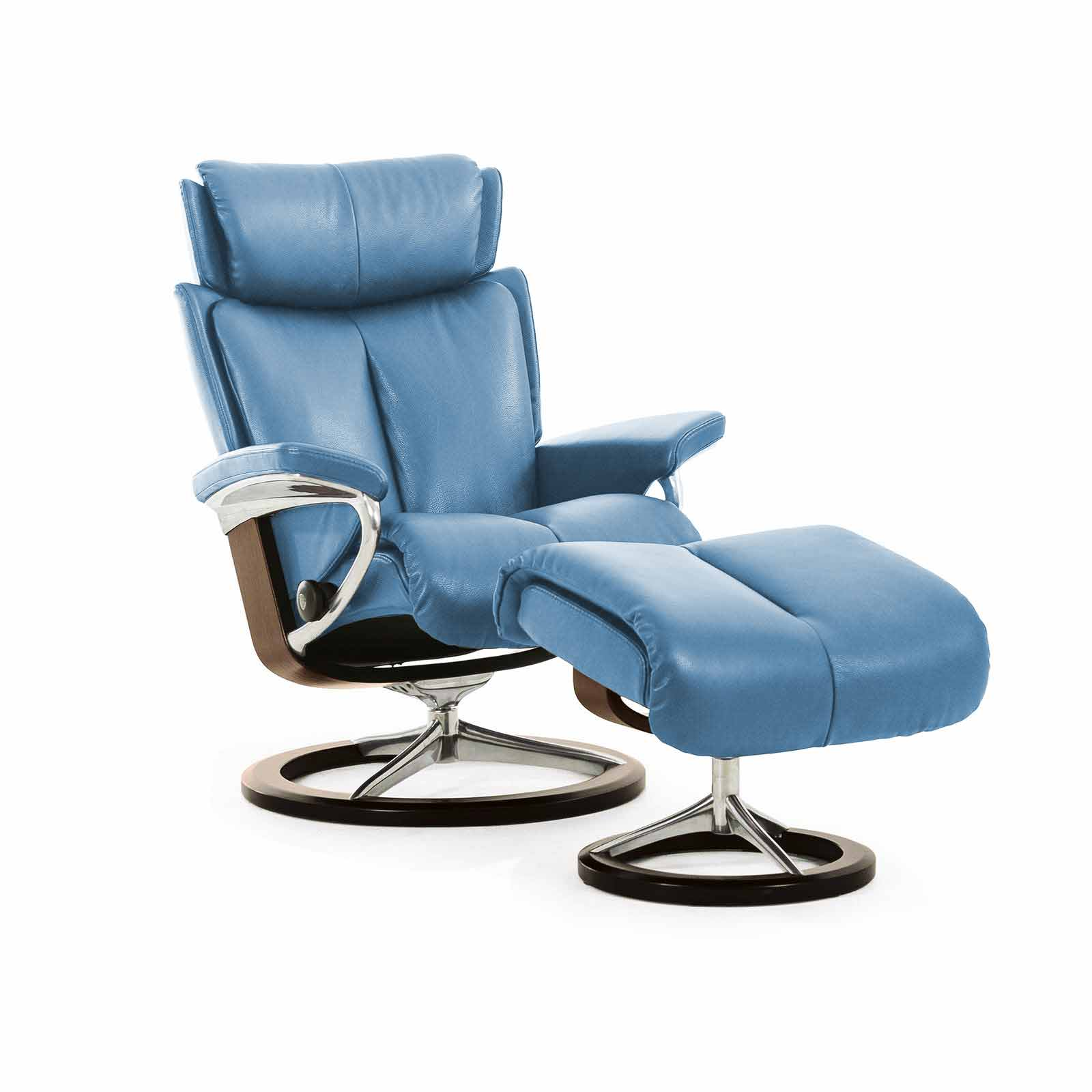 Stressless Magic Signature Sessel Verkauft Stressless Magic Signature M Leder Paloma Sparrow Blue Holzfarbe Walnuss Mit Hocker