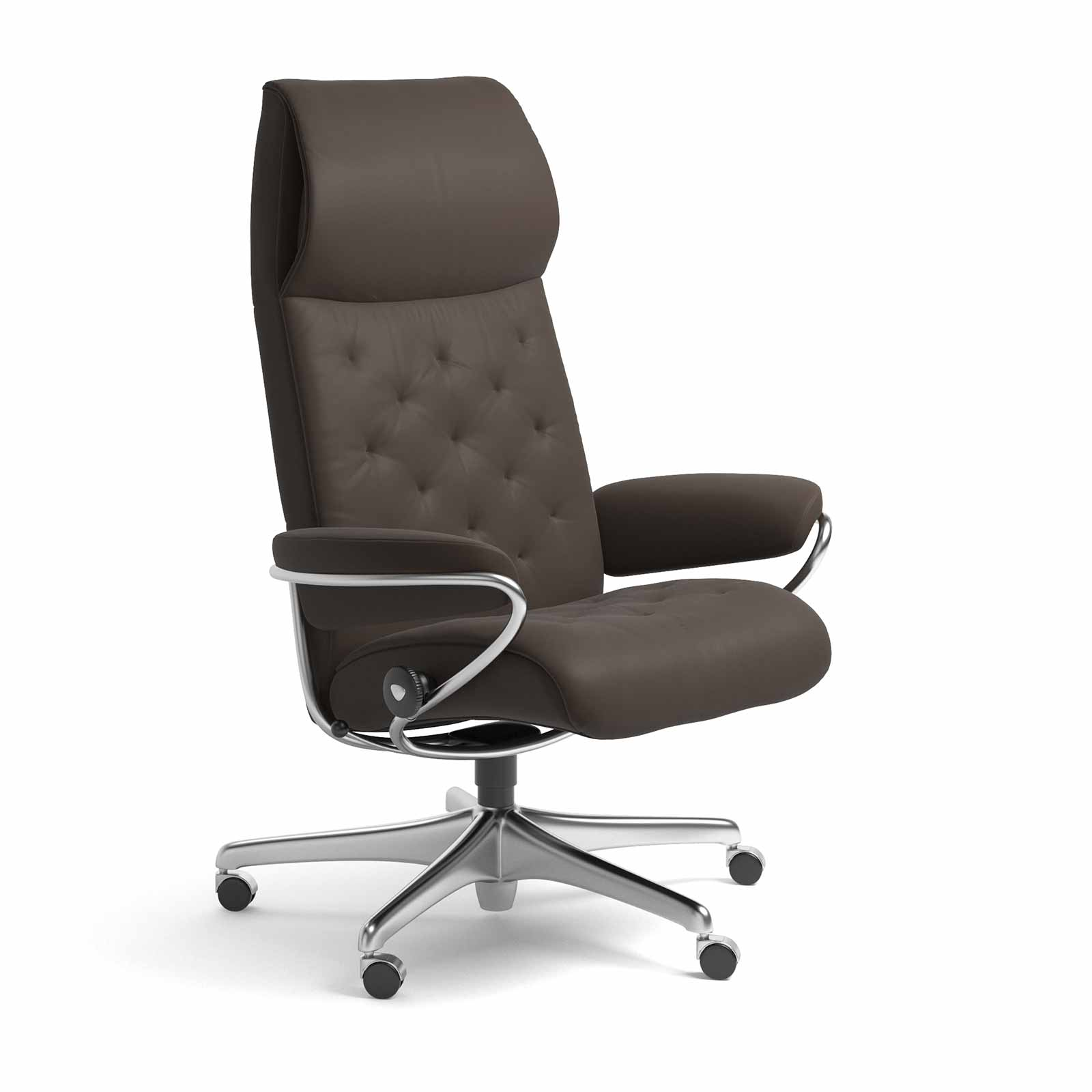 Sessel Metallgestell Stressless Sessel Metro Home Office High Back Leder Batick Braun