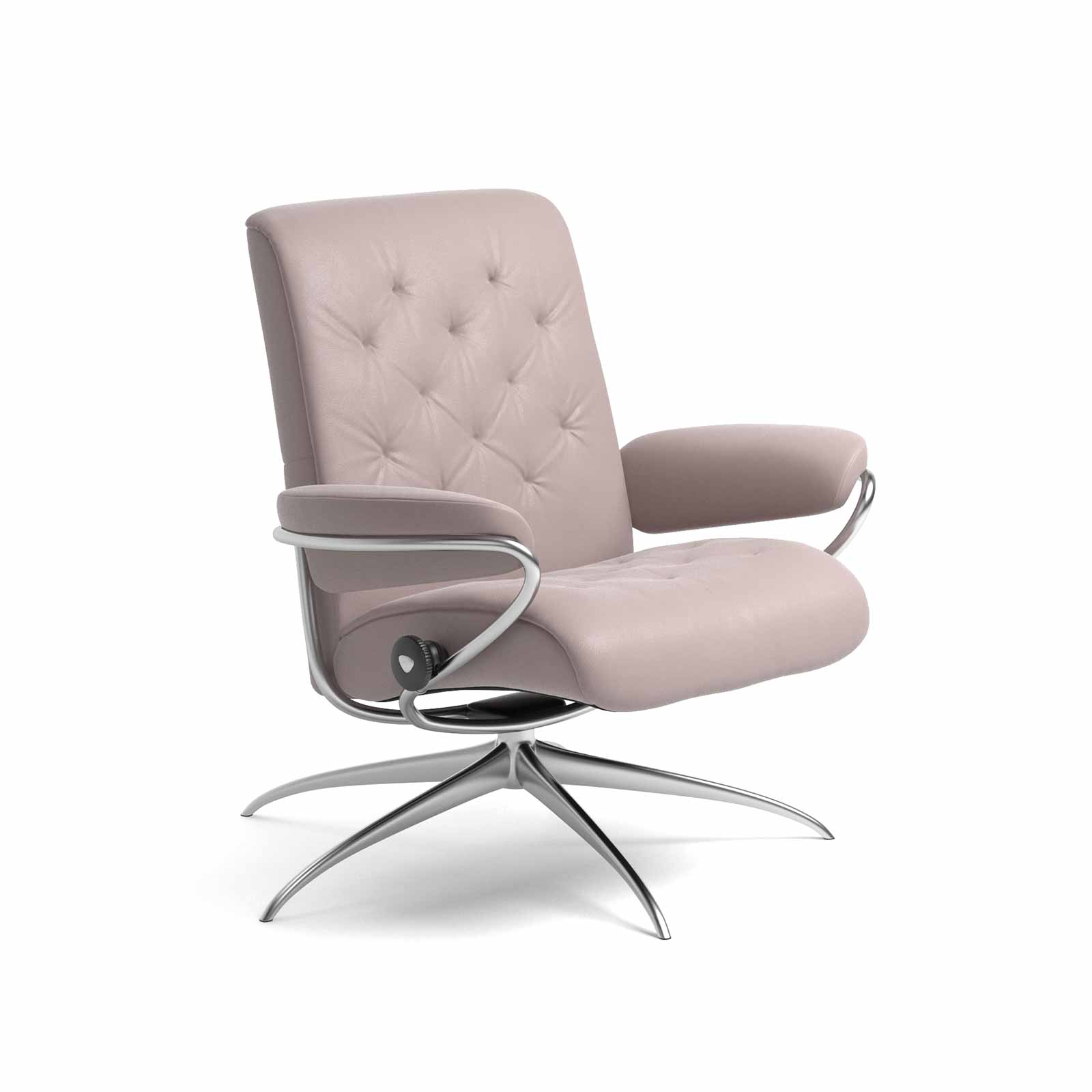 Metall Sessel Stressless Sessel Metro Low Back Leder Batick Smoke Rose