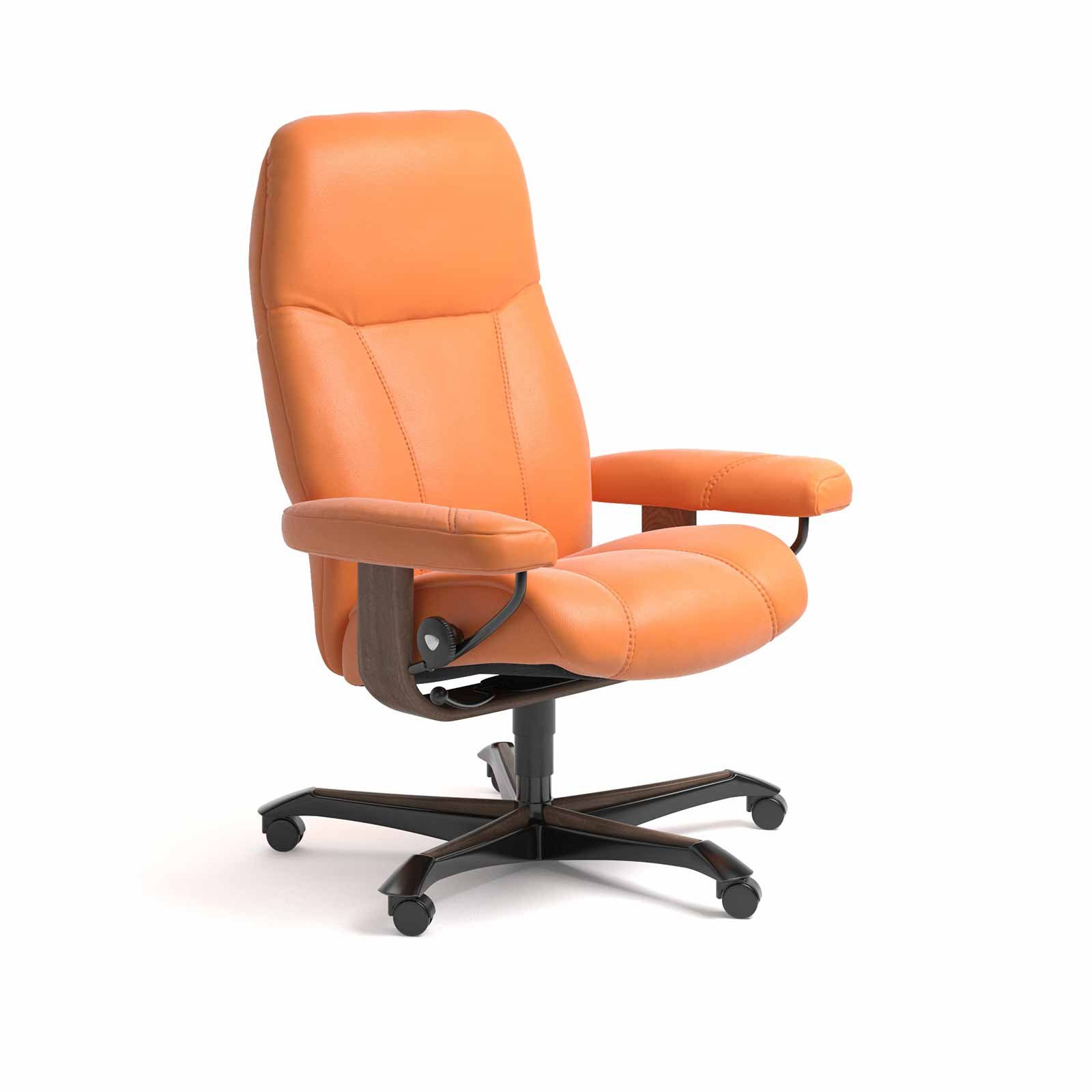 Relaxsessel Mit Rollen Stressless Sessel Consul Home Office Leder Paloma Apricot Orange