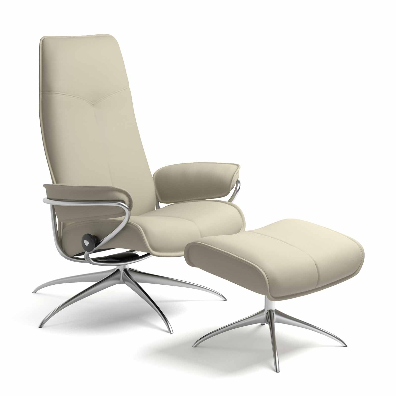 Metall Sessel Stressless Sessel City High Back Leder Paloma Light Grey Mit Hocker