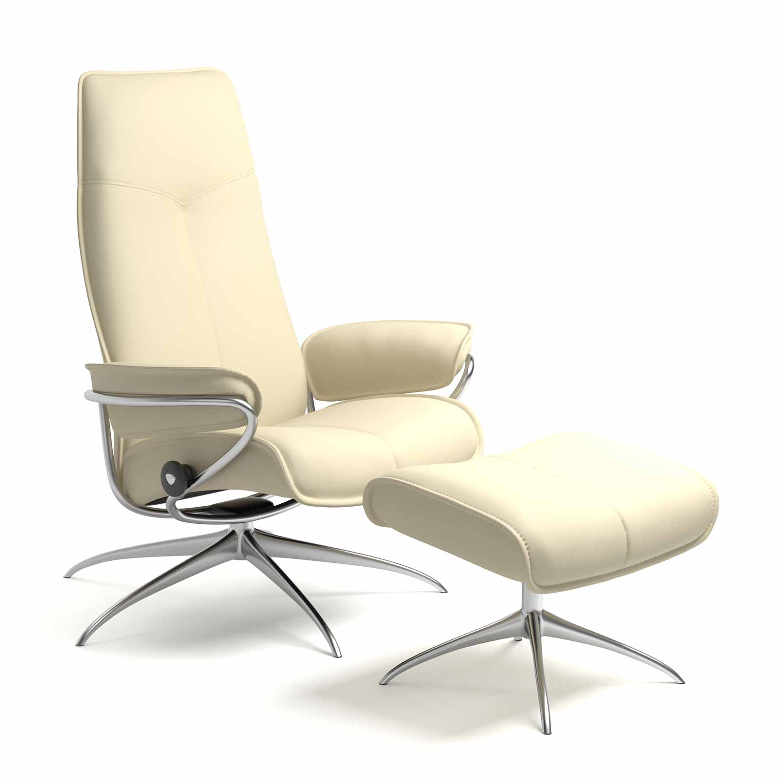 Stressless Sessel City High Back Stressless City High Back Leder Paloma Vanilla Mit Hocker