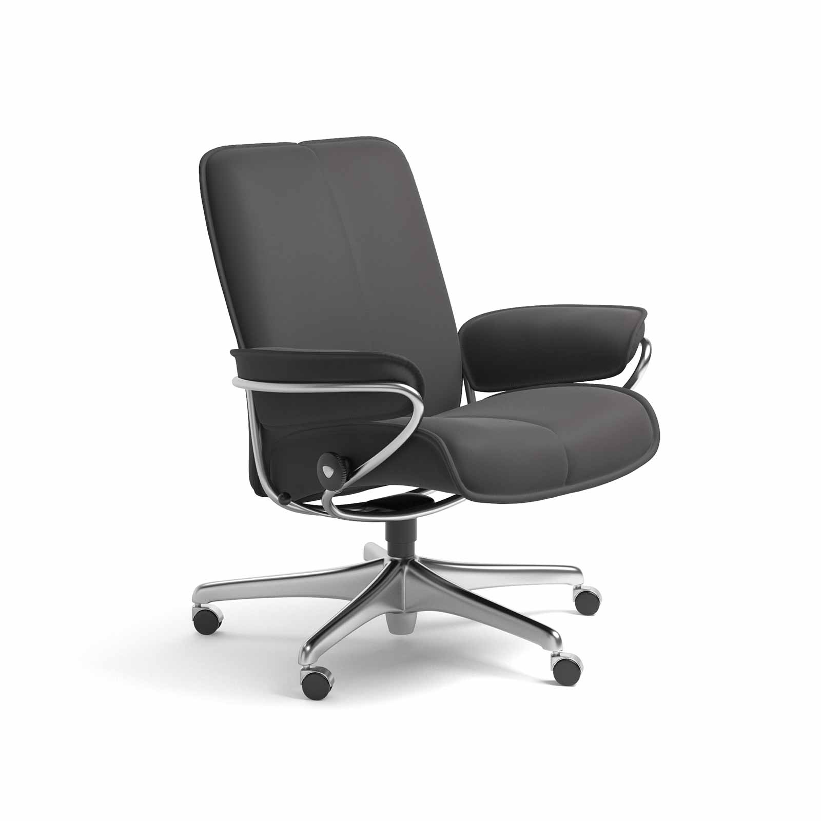 Sessel Metallgestell Stressless Sessel City Home Office Low Back Leder Paloma Rock