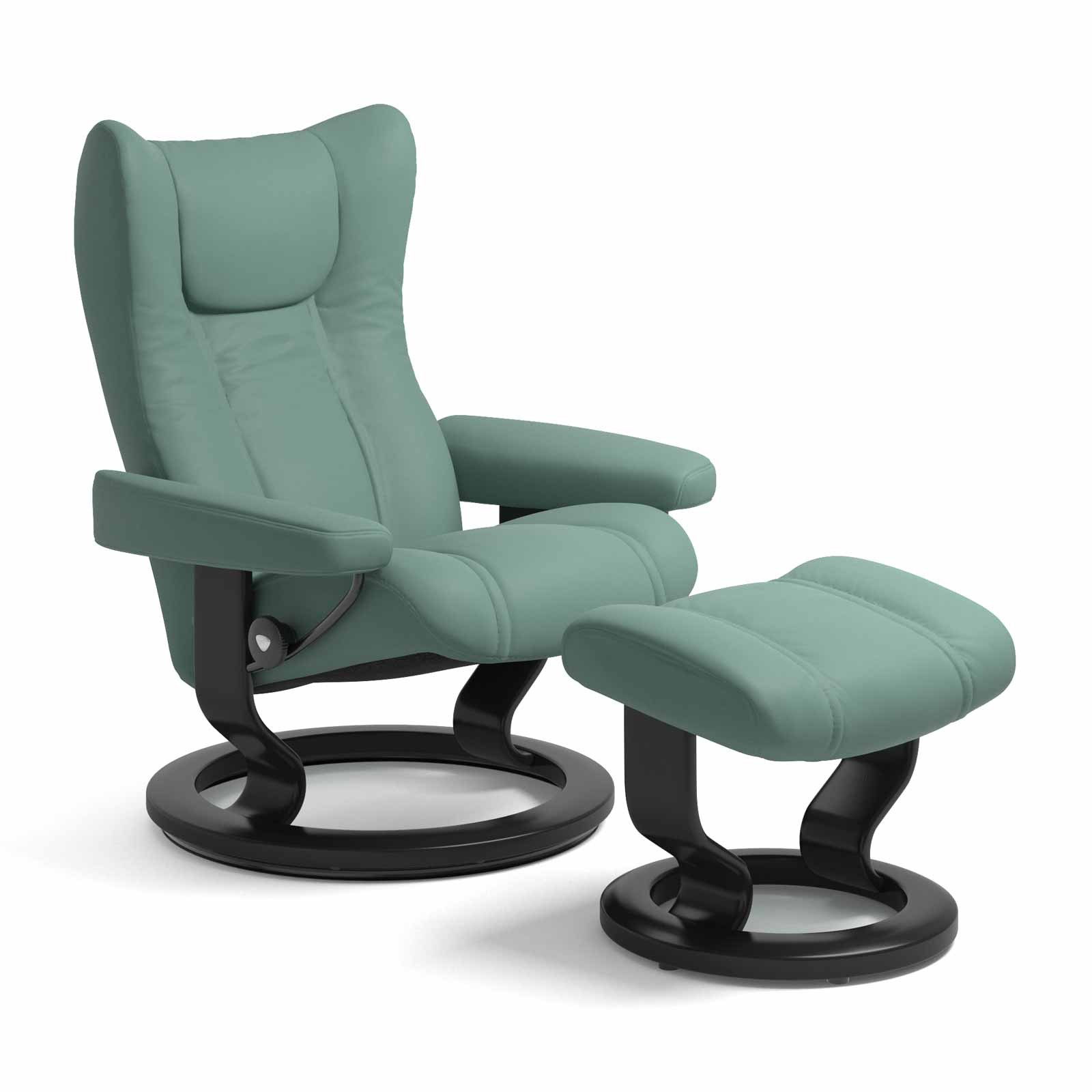 Sessel Aqua Stressless Wing Classic Aqua Green Mit Hocker Stressless