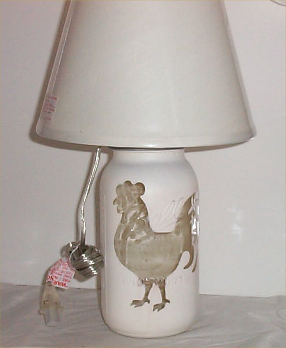 Glass Jar Lamp Shade Mason Jar Half Gallon Rooster Lamp Shade Country Farm Light Home