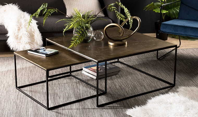 Meuble Scandinave But Tables Basses Gigogne Dorées - Collection Goldy