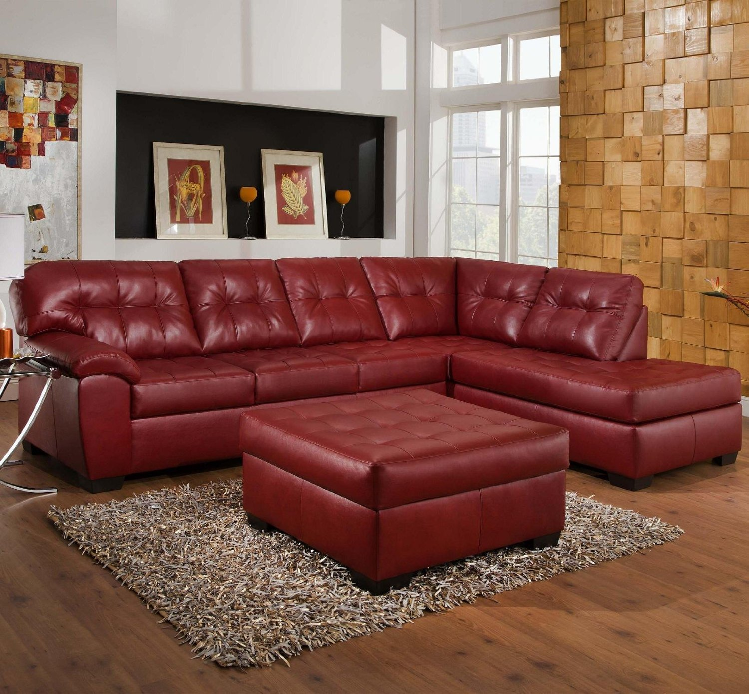 Attractive Red Leather Sofa For Interior Living Room