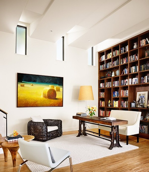 Mid Century Modern Bookcase Artistic High Ceiling Design In Bright Room : Housebeauty