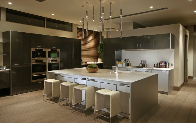 Pendant Lighting White Kitchen Luxurious Residence Interior Design With Warm Outdoor