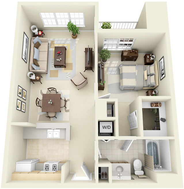 Image result for 3d 1 bedroom floor plans for an apartment - plan de maison campagne