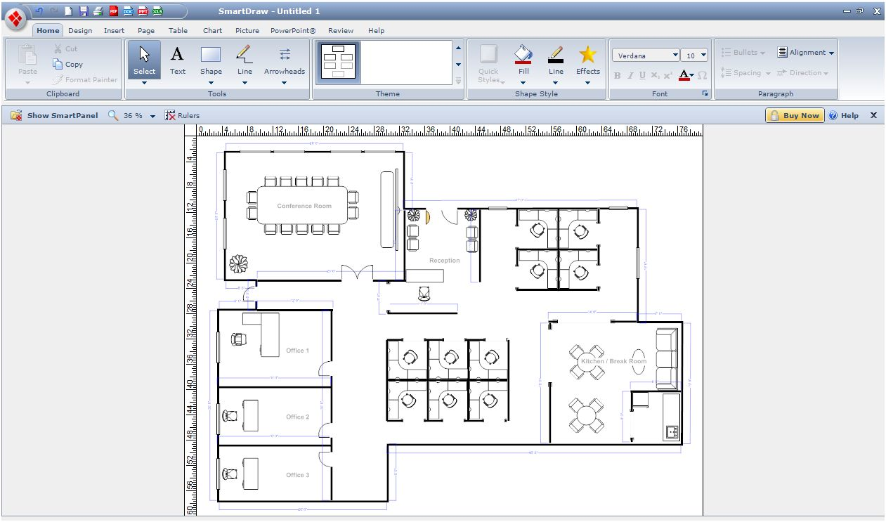 Gastro Stuhl Digital Smart Draw Floor Plan With Smartdraw Software