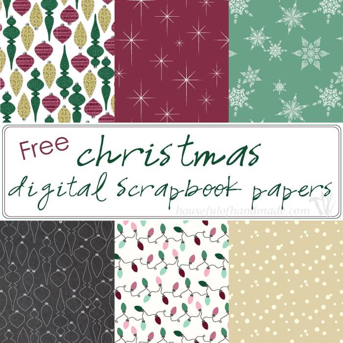 Free Christmas Digital Scrapbook Paper - Houseful of Handmade