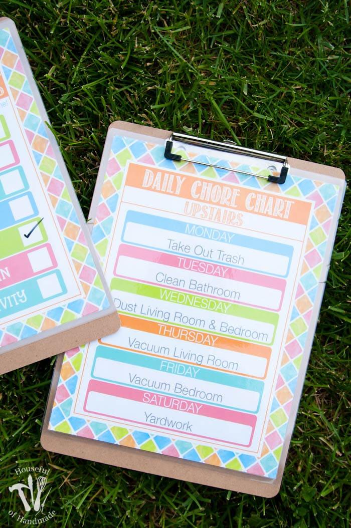 Free Printable Summer Chore Charts - a Houseful of Handmade - daily chore