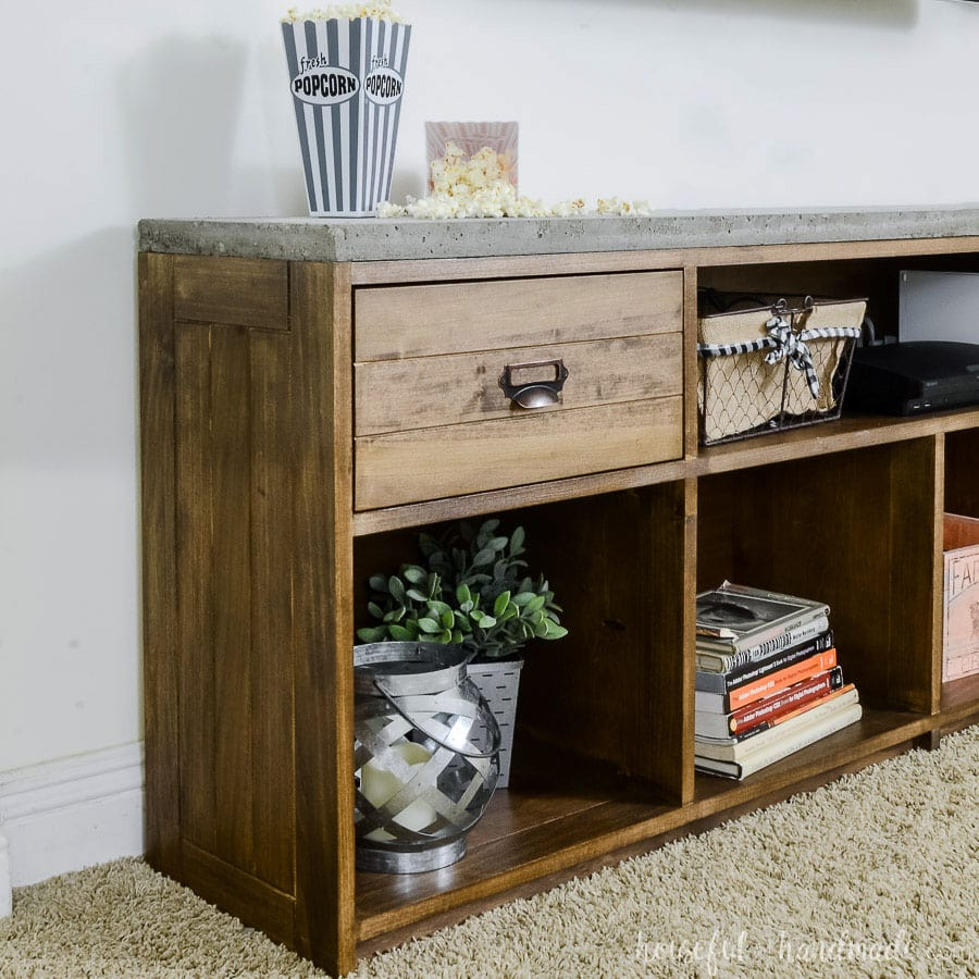 Rustic Tv Stand With Concrete Top Houseful Of Handmade