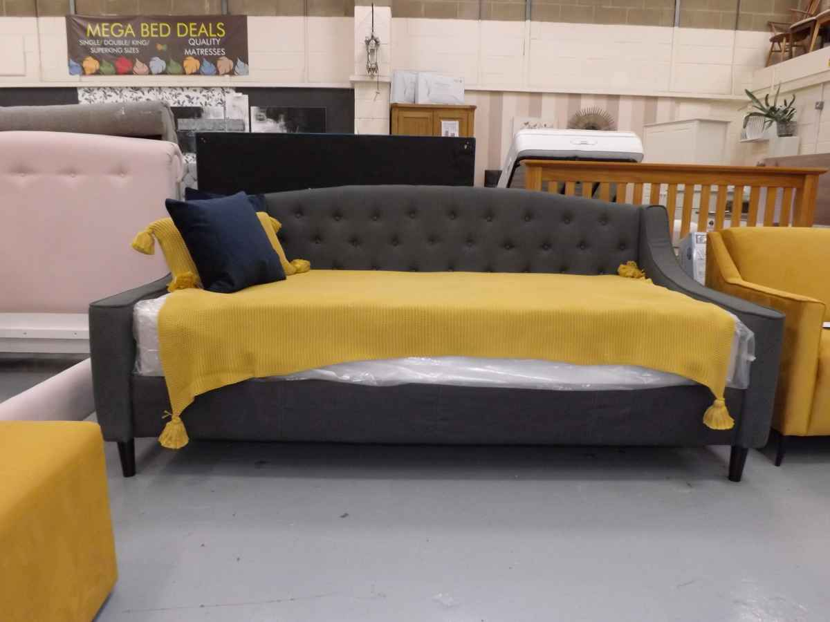 Sofa Bed Ebay Peterborough Designer Grey Fabric 3ft Single Daybed Sofa With Mattress Ex Showroom Bargain Price