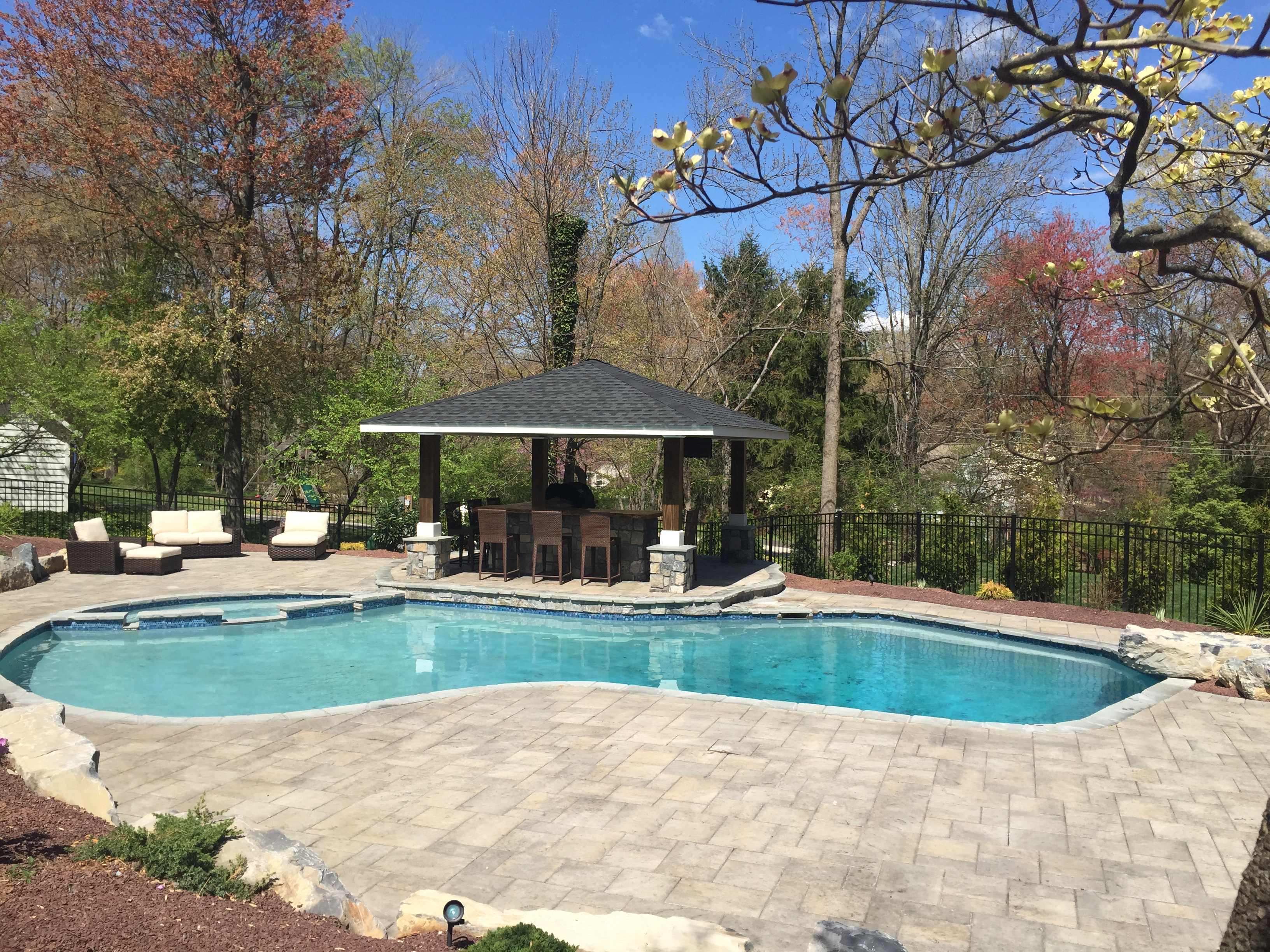 Pool With R Swimming Pool W Paver Pool Deck And Gazebo Garden Patios Inc