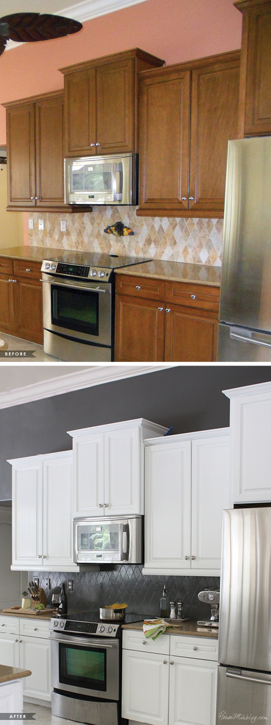 Painted Kitchen Cabinets And Tile Backsplash A Year Later House Mix