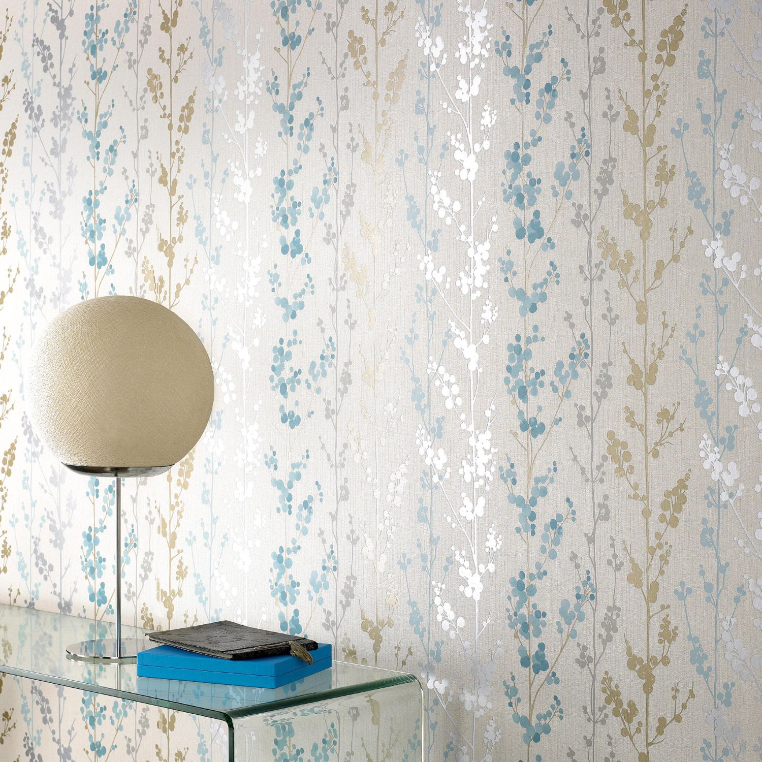 Graham & Brown Blue teal berries wallpaper - House of Fraser