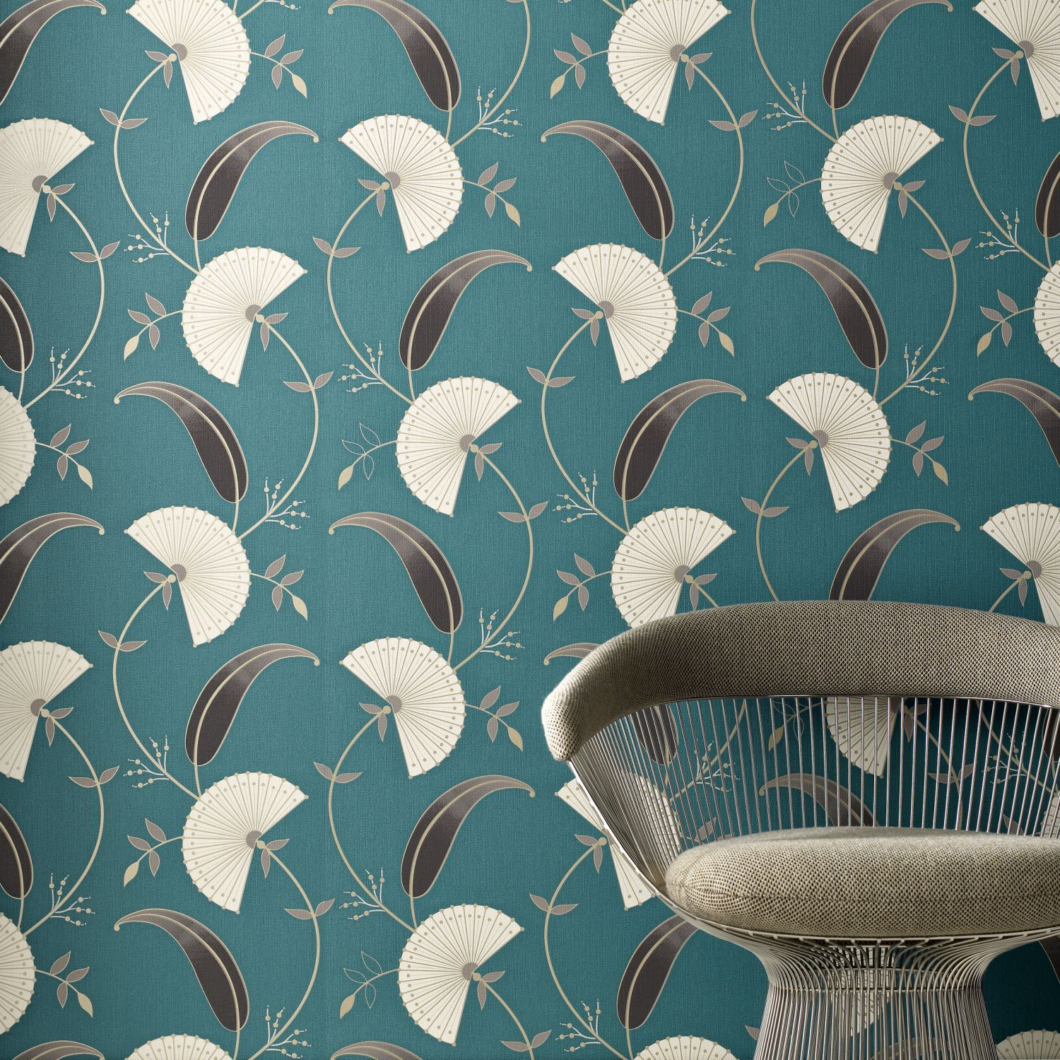 Graham & Brown Teal/chocolate precious wallpaper - House of Fraser