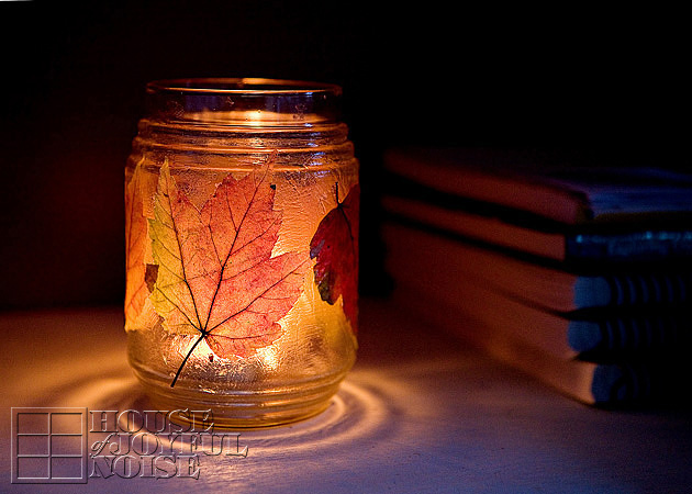 Decorating With Autumn Leaves Door Garland And Candle Jars